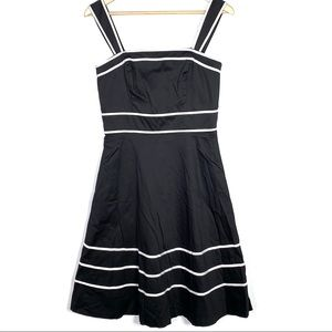 White House black and white fit and flair dress